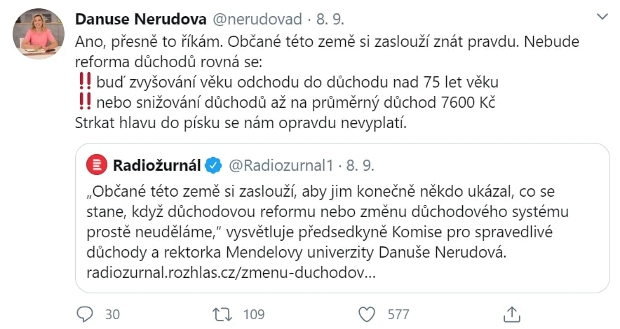 Vyjádření Danuše Nerudové o důchodech.
