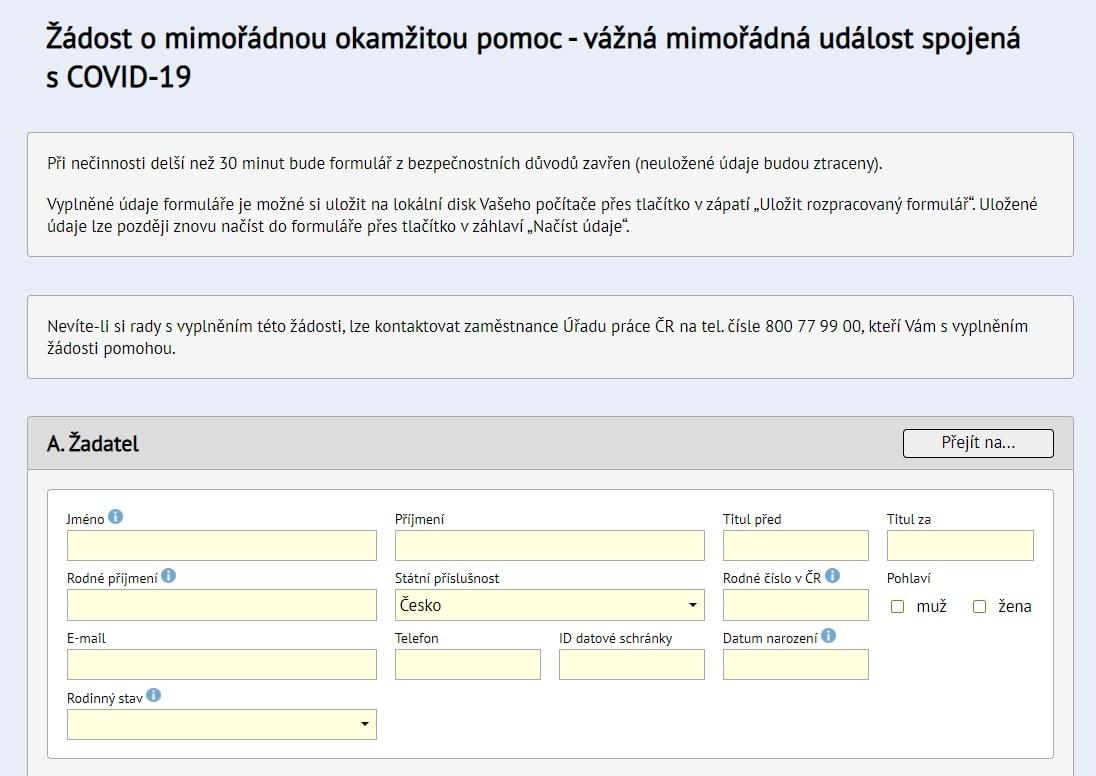Formulář na webu ministerstva, ketrý musíte vyplnit.