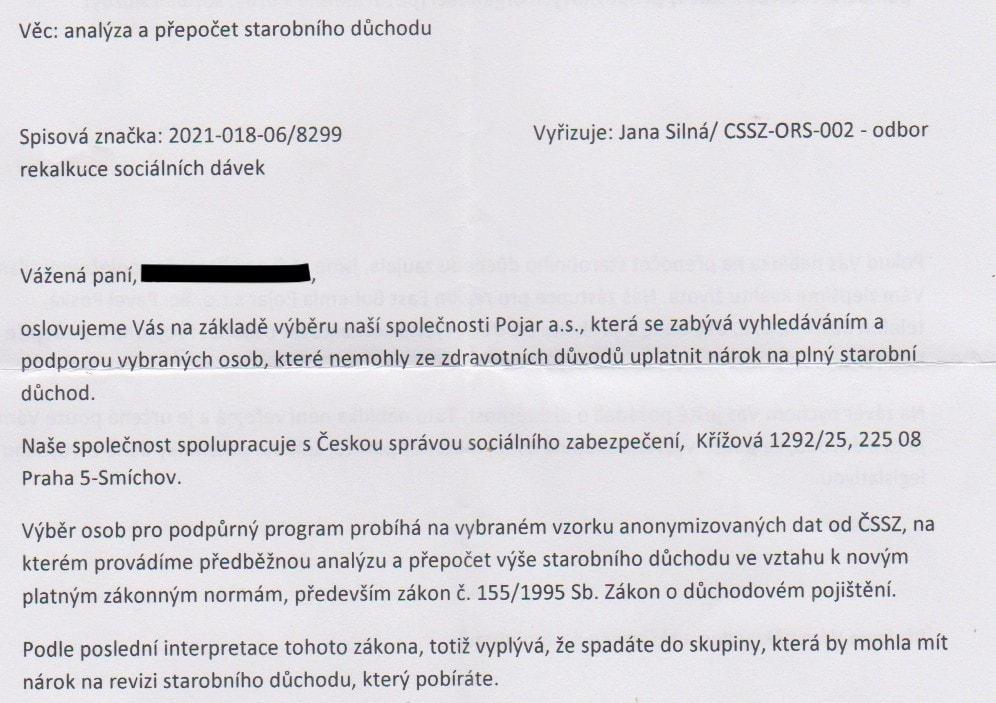 ČSSZ varuje před podvodnými dopisy.